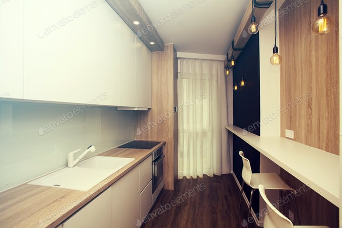 Small kitchen with bar