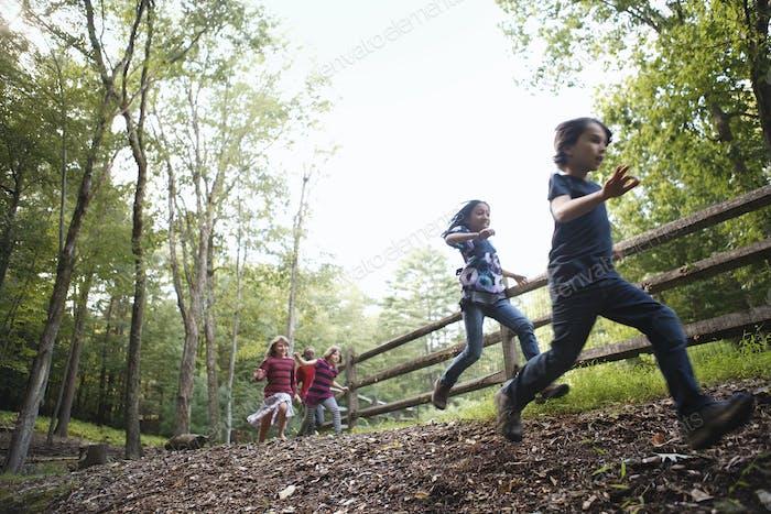 Drei Kinder spielen rund um den Hof, laufen um ein Koppel mit Holzzäunen.