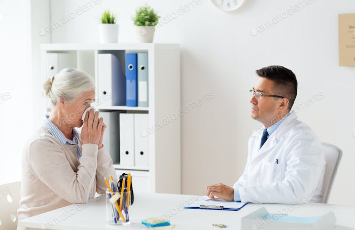 senior woman and doctor meeting at hospital
