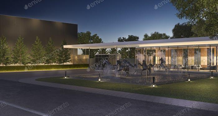 3D representación de lujo edificio moderno en el pueblo por la noche