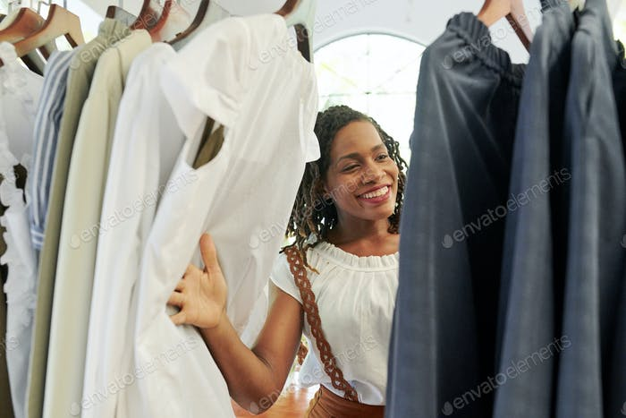 Woman looking through clothes