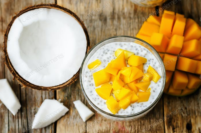coconut mango Chia seed pudding