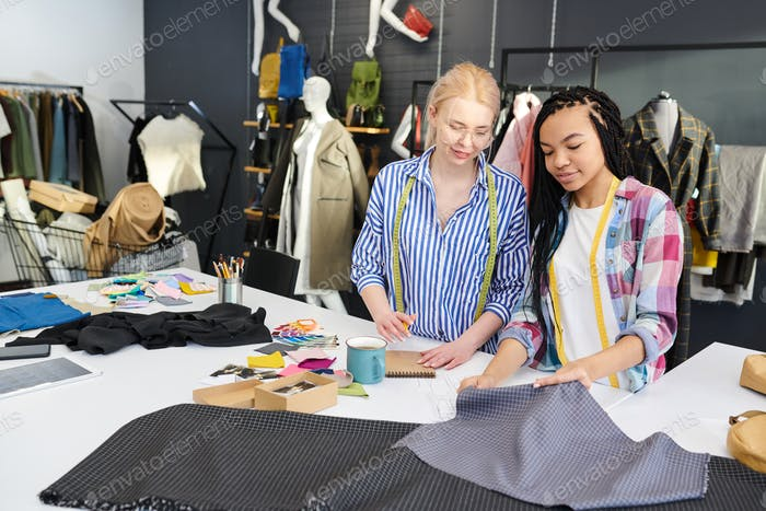 Designers working with textile