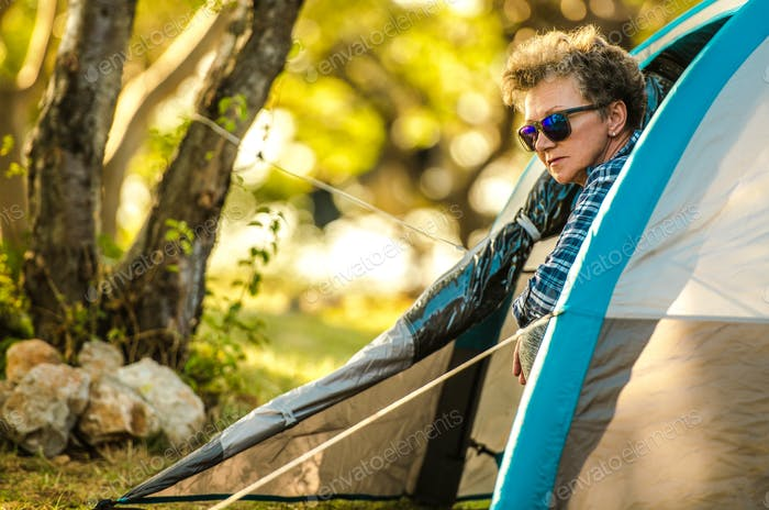 Senior Woman Tent Camping