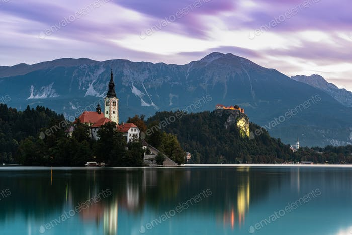 Famous Lake Bled in Slovenia with Church on Island. Long Exposur