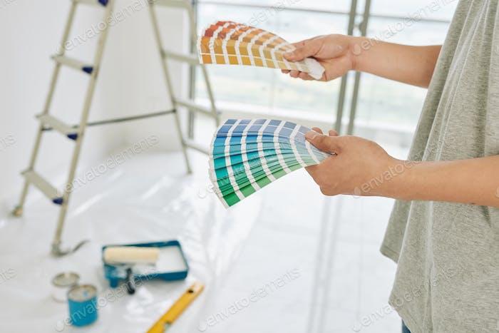 House owner choosing walls color