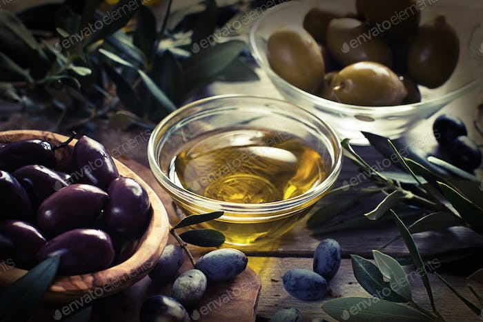Olive oil and olives - retro styled