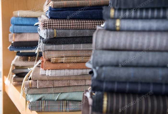 Stacks of textiles in close up view