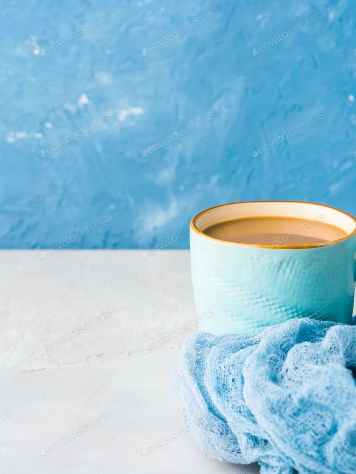 Mug of coffee with milk. Pastel colors