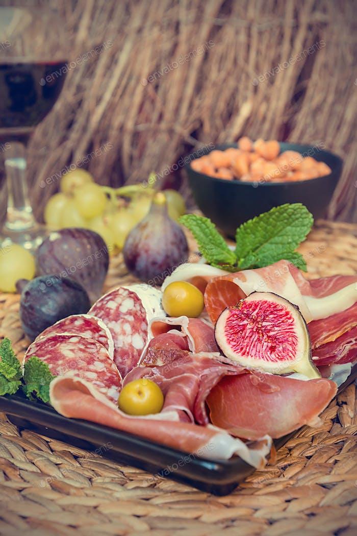 Italian antipasti plate