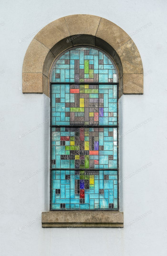 Colored Stained Glass Window of a Church