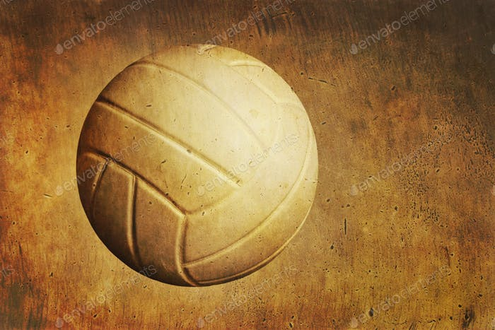 A Volleyball on Textured Grunge Background