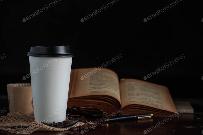Cup of coffee with black background