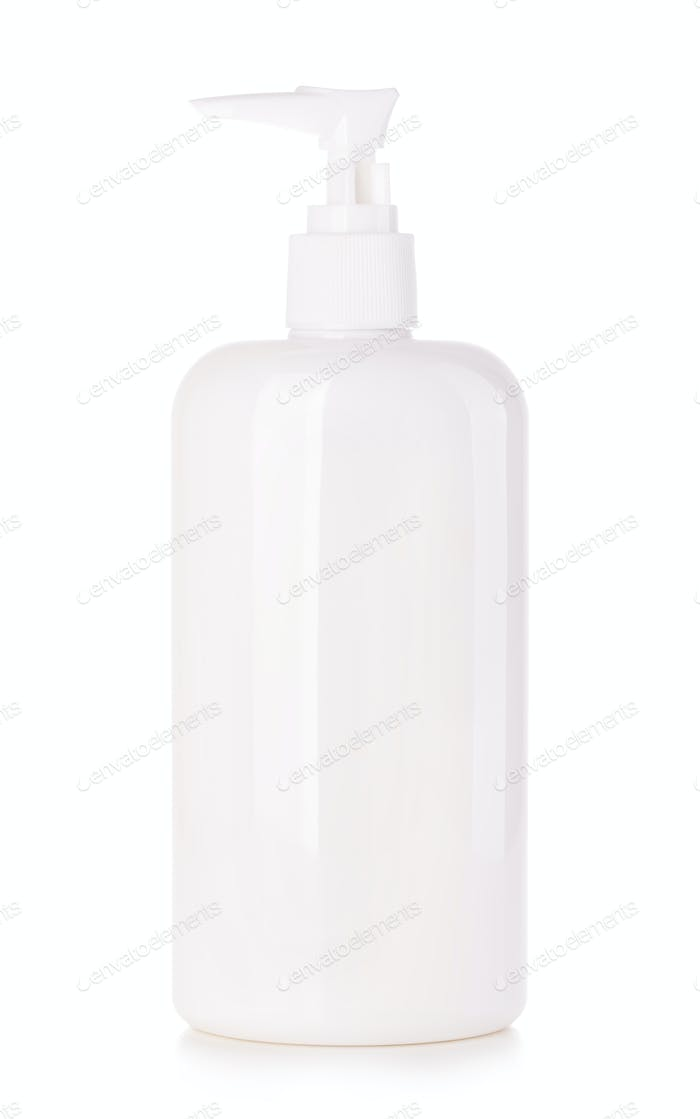 Cosmetic plastic bottle with white dispenser pump.
