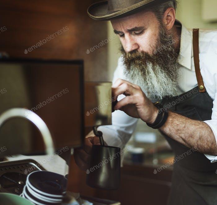 Barista Verter Café Café Trabajo Startup Concepto Negocios