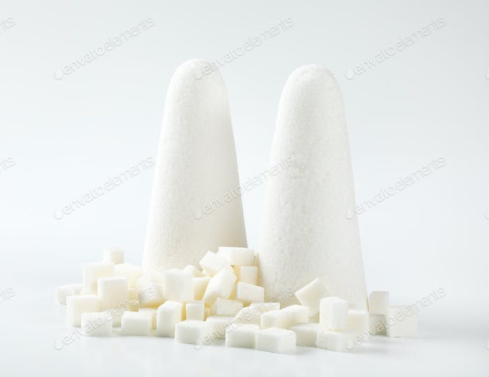 white sugar loaves and cubes