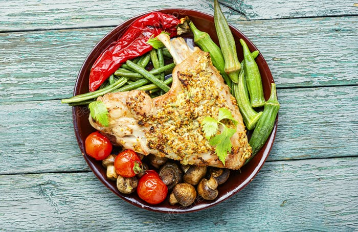 Turkey with roasted vegetables.