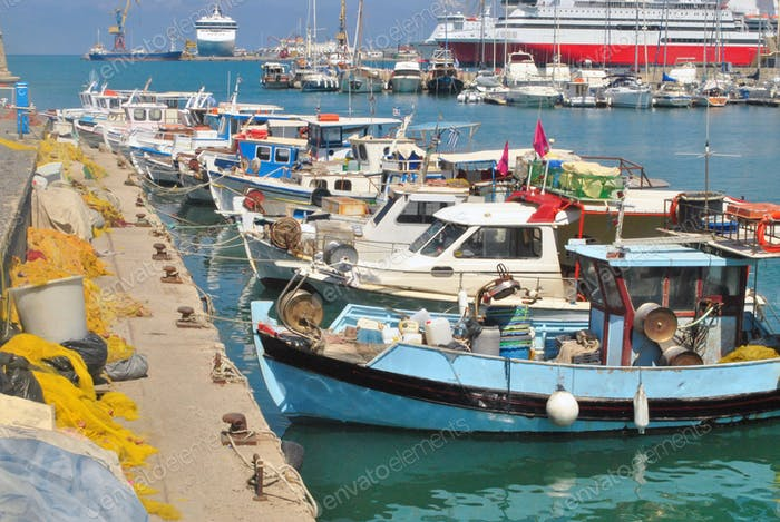 fishing boats and fishing net in port