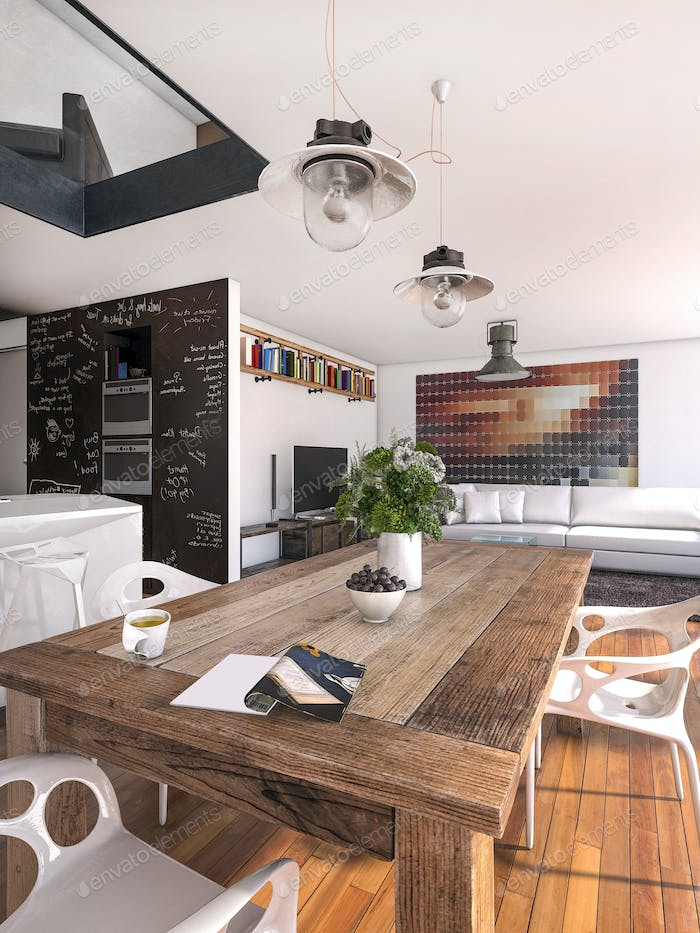 3D rendering eating table with magazine and daylight