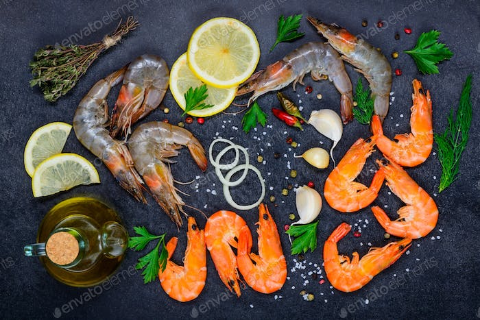 Seafood with Shellfish Red and White Shrimps and Cooking Ingredi
