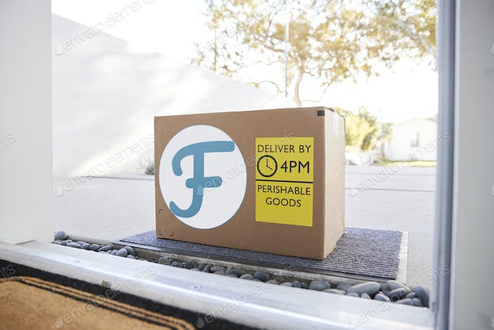 Fresh Food Home Delivery In Cardboard Box Outside Front Door
