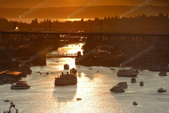 Aerial view of ships on Lake Union at sunset, Seattle, Washington, United States