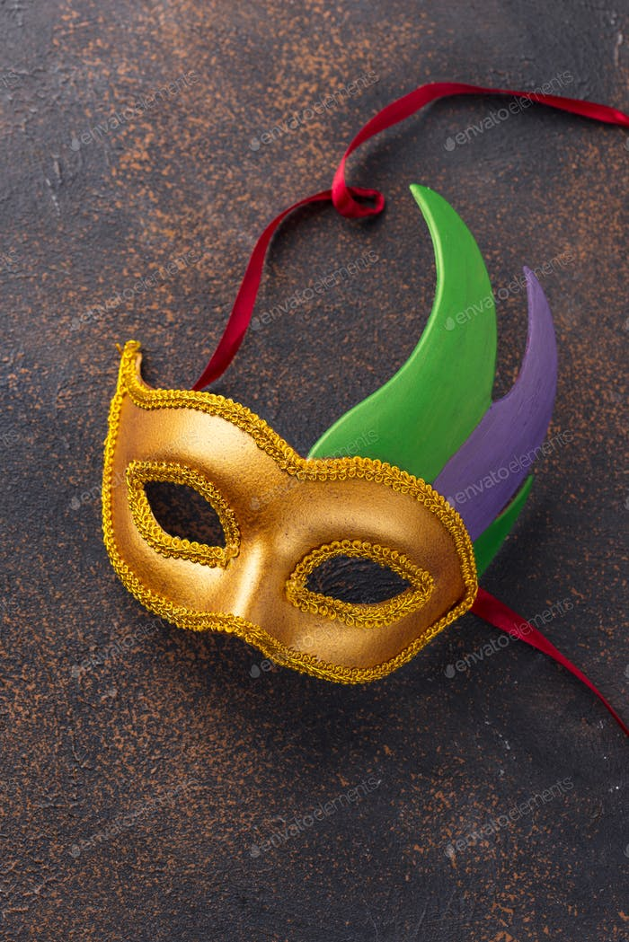 Mardi Gras background with carnival mask