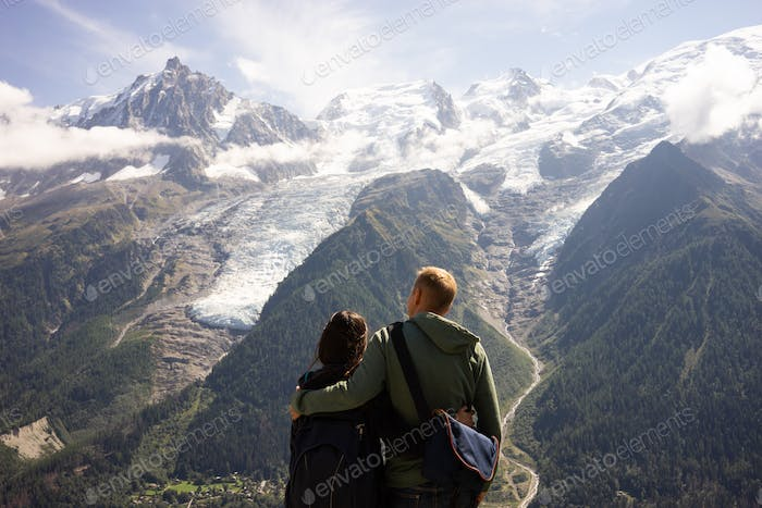 couples watching the stunning view of Mont Blanc