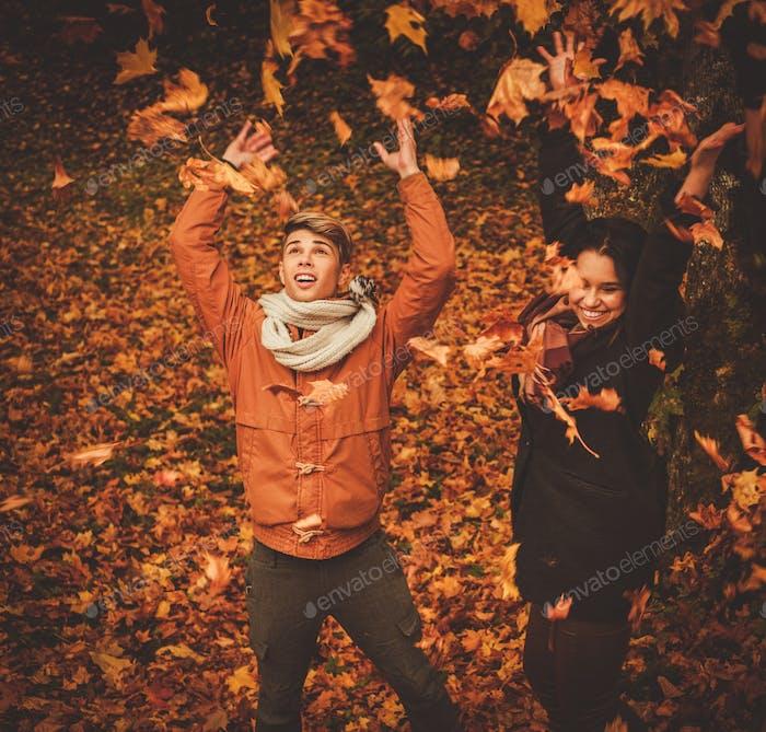 прекрасный пару имея удовольствие в осень парк