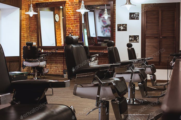 Vintage chairs in barbershop