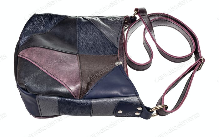 patchwork leather crossbody bag isolated