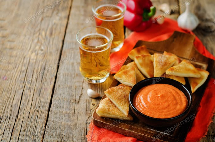 Roasted Red Bell Pepper Feta cheese dip with roasted pita