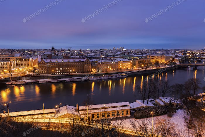 Winter in Prague - bridges on Vltava River
