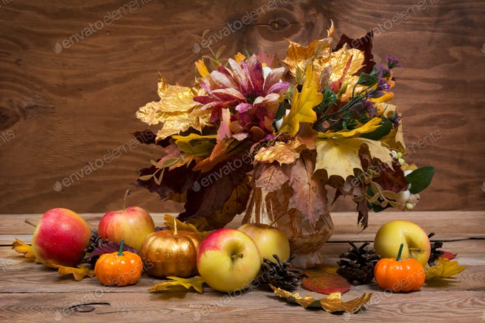 Fall leaves bouquet, pumpkins and apples,