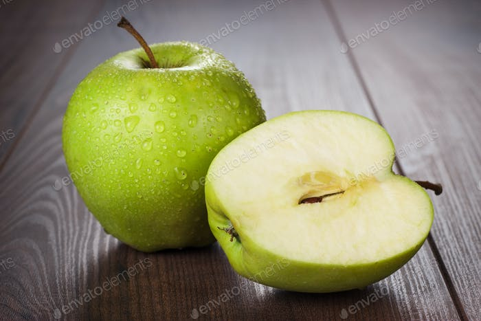 Fresh Green Apples On The Table