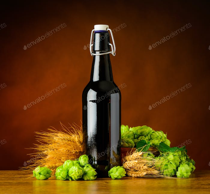 Beer Bottle with Hops and Wheat