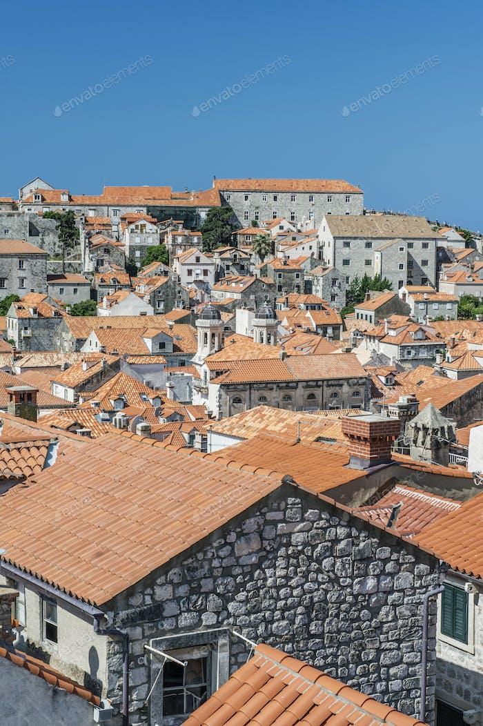 Rooftops of city on hillside, Dubrovnik, Dubrovnik-Neretva, Croatia