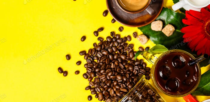 Various coffee on yellow background, flat lay, top view