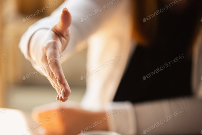 Close up of caucasian female hands, working in office, business, people