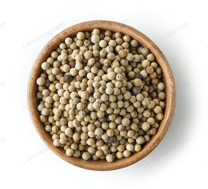 wooden bowl of white pepper