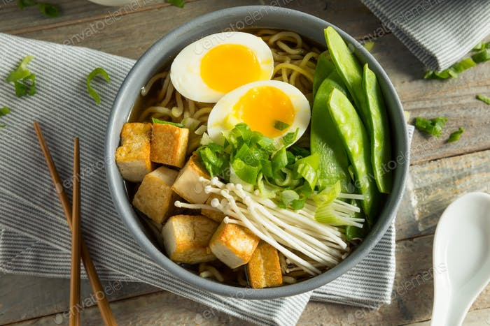 Homemade Japanese Vegan Tofu Ramen Noodles