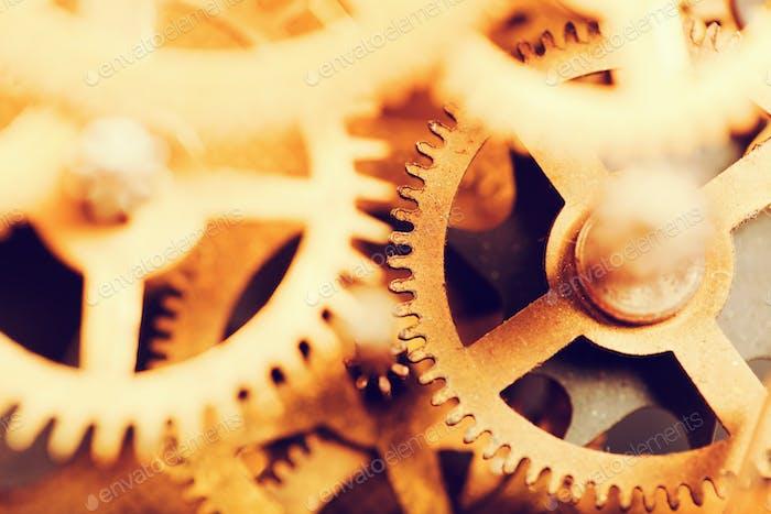 Grunge Gang, Zahnräder Hintergrund. Industriewissenschaft, Uhrwerk, Technologie.