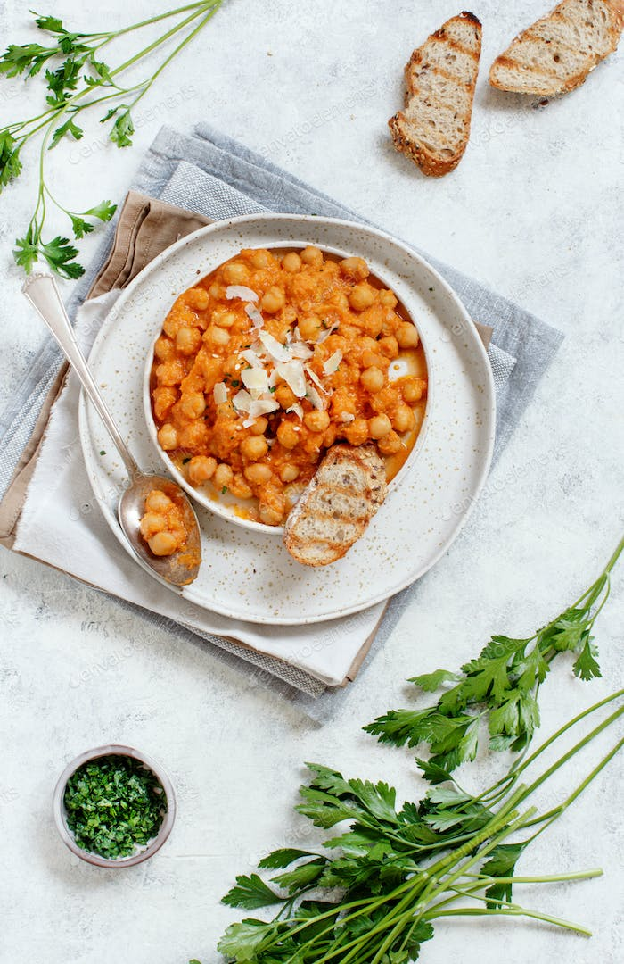 Indian chana masala or chickpea curry