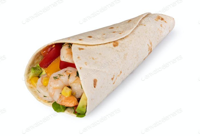 burrito with vegetables and tortilla