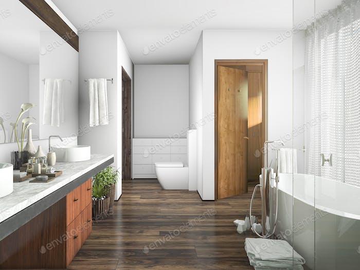 3d rendering wood and tile design bathroom near window an curtain