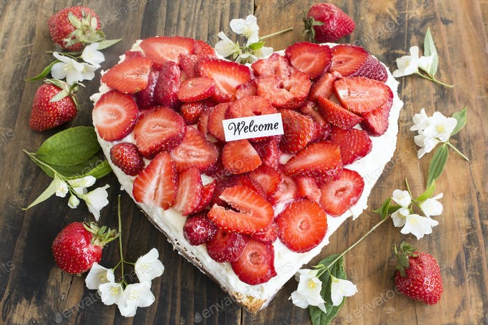 Welcome Card with Strawberries Cheesecake Heart Shaped