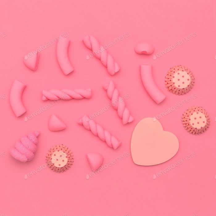 Pink Sweets. Candy mood. Minimal Flatlay art