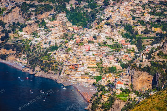 Landscape view of picteresque Positano town and Amalfi coast, Italy