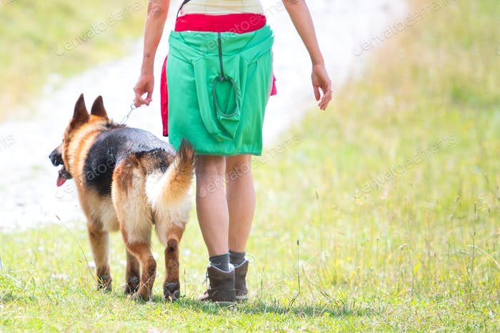 Detail of a woman with her German shepherd dog