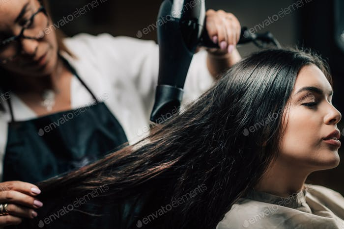 Hair Salon, Hairdresser Drying Hair
